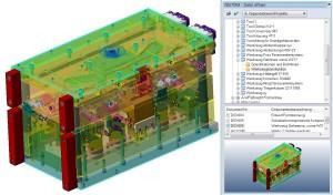 PDM Benutzeroberfläche in VISI, mit Strukturbaum und Dokumenteigenschaften